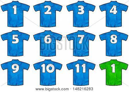 twelve Blue sport shirts as a soccerhockeybasketrugby baseball volley or football team tshirt. Like Italy national team