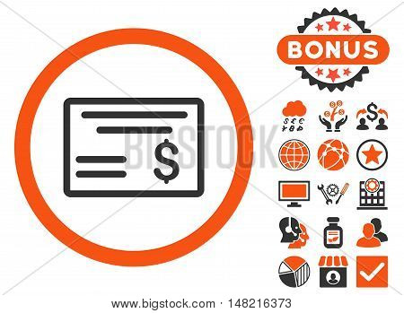 Dollar Cheque icon with bonus pictogram. Vector illustration style is flat iconic bicolor symbols, orange and gray colors, white background.
