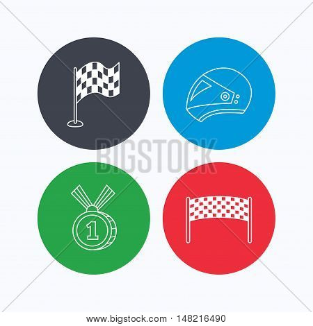 Race flag, checkpoint and motorcycle helmet icons. Winner award medal linear signs. Linear icons on colored buttons. Flat web symbols. Vector