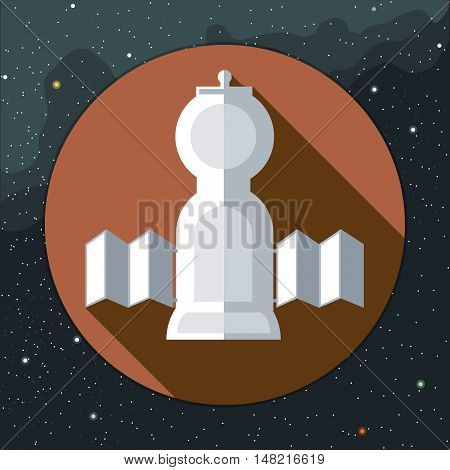 Digital vector with space rocket icon, over background with stars, flat style