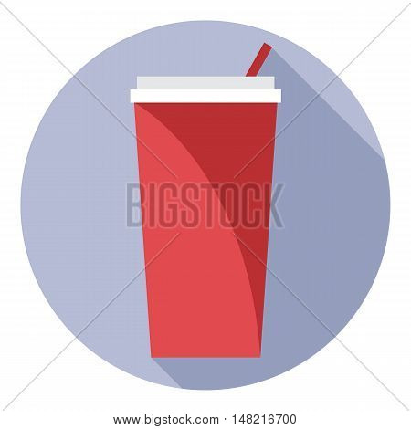 Digital vector red plastic soda drink cup with straw in a purple circle, flat style.