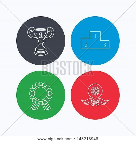 Winner cup, podium and award medal icons. Race symbol, wheel on fire linear signs. Linear icons on colored buttons. Flat web symbols. Vector
