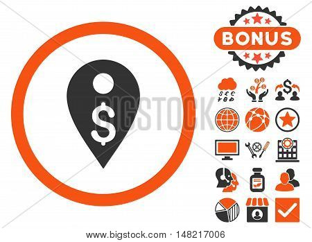 Dollar Map Marker icon with bonus elements. Vector illustration style is flat iconic bicolor symbols, orange and gray colors, white background.