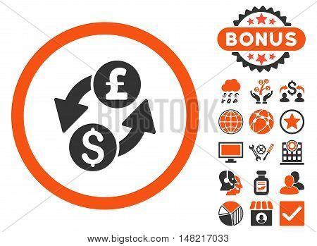 Dollar Pound Exchange icon with bonus design elements. Vector illustration style is flat iconic bicolor symbols, orange and gray colors, white background.