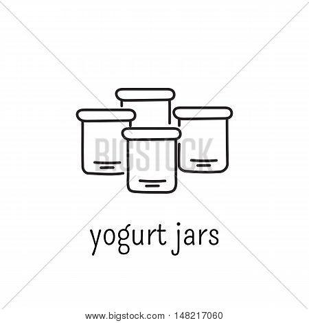 Hand drawn thin line icon, vector logo template illustration. Yougurt jars isolated symbol. Black on white pictogram. Simple mono linear modern design.
