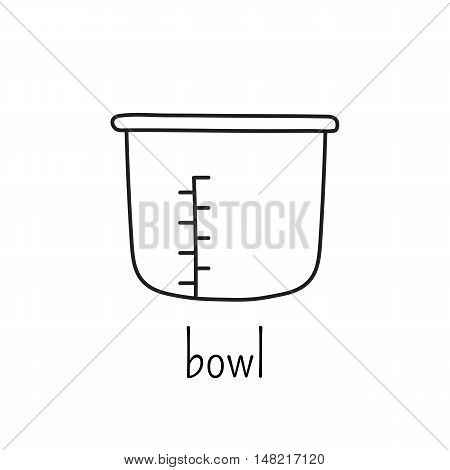 Hand drawn thin line icon, vector logo template illustration. Bowl for pressure cooker. Isolated symbol. Black on white pictogram. Simple mono linear modern design.