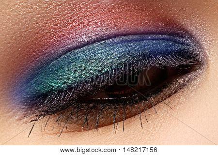 Beautiful Macro Shot Of Female Eye With Creative Makeup. Bright