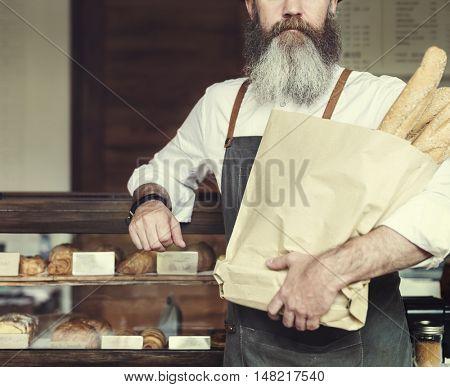 Man Fresh Baked Baguette Homemade Concept
