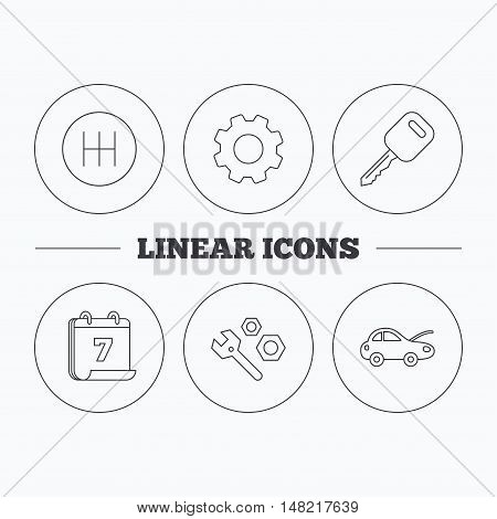 Car key, repair tools and manual gearbox icons. Car repair, transmission linear signs. Flat cogwheel and calendar symbols. Linear icons in circle buttons. Vector