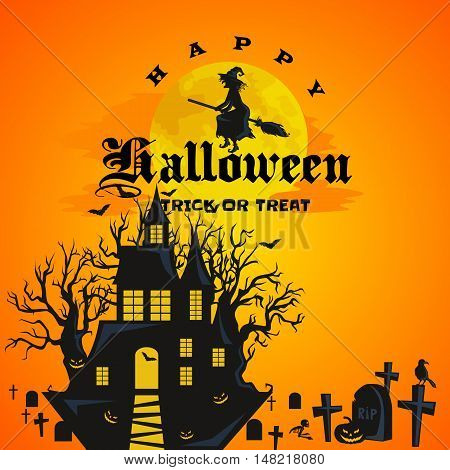 Halloween design - Forest pumpkins on cemetery. Horror background with autumn valley with woods, spooky tree, pumpkins. Halloween background witch flying on broomstick