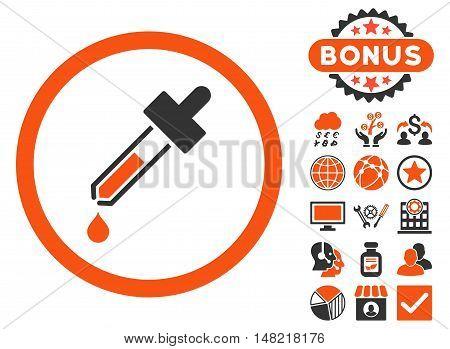 Dropper icon with bonus design elements. Vector illustration style is flat iconic bicolor symbols, orange and gray colors, white background.