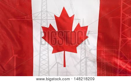 Concept Energy Distribution Flag of Canada merged with high voltage power poles
