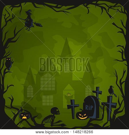 Halloween design - Forest pumpkins. Horror background with autumn valley with woods, spooky tree, pumpkins