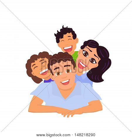 Happy family dad, mom, daughter and son. Vector illustration