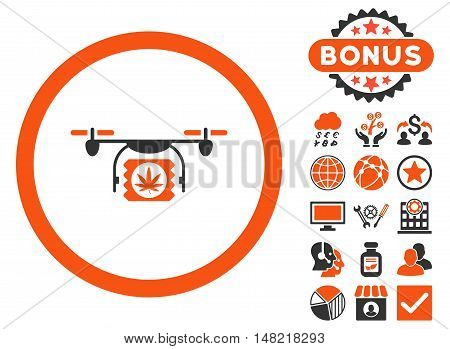 Drugs Drone Shipment icon with bonus elements. Vector illustration style is flat iconic bicolor symbols, orange and gray colors, white background.