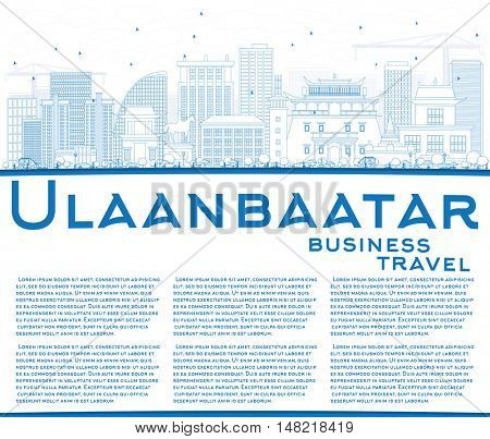 Outline Ulaanbaatar Skyline with Blue Buildings and Copy Space. Business Travel and Tourism Concept with Historic Buildings. Image for Presentation Banner Placard and Web.