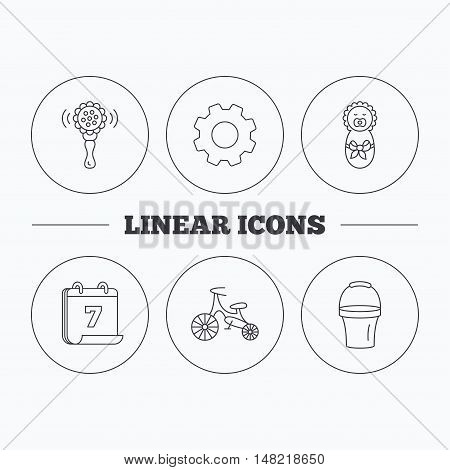 Newborn, rattle and first bike icons. Newborn child, bucket linear signs. Flat cogwheel and calendar symbols. Linear icons in circle buttons. Vector