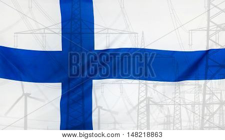 Concept Energy Distribution Flag of Finland merged with high voltage power poles