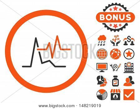 ECG icon with bonus elements. Vector illustration style is flat iconic bicolor symbols, orange and gray colors, white background.