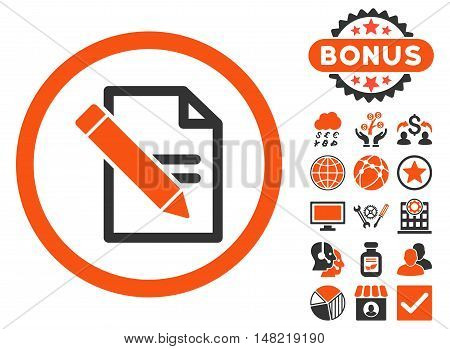 Edit Records icon with bonus images. Vector illustration style is flat iconic bicolor symbols, orange and gray colors, white background.