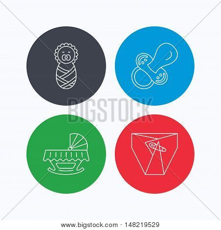 Pacifier, newborn and diapers icons. Cradle bed linear sign. Linear icons on colored buttons. Flat web symbols. Vector