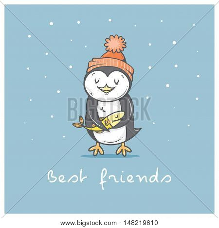 Card with cute cartoon  penguin in hat. Winter time. Little Antarctic bird and fish. Funny animal. Best friends. Vector contour image. Children's illustration.