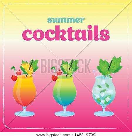 Alcohol cocktail set. Summer holidays vector illustration set with cocktails.