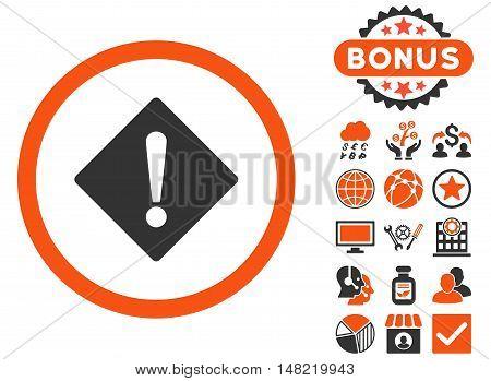 Error icon with bonus pictogram. Vector illustration style is flat iconic bicolor symbols, orange and gray colors, white background.