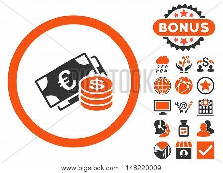Euro and Dollar Cash icon with bonus images. Vector illustration style is flat iconic bicolor symbols, orange and gray colors, white background.