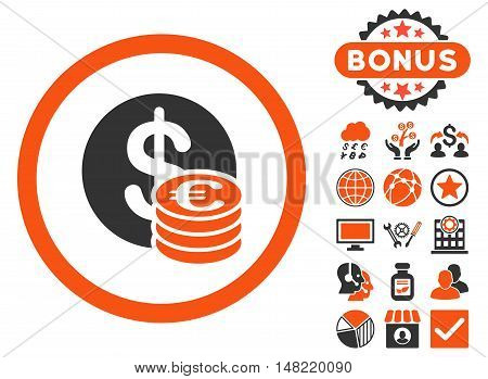 Euro and Dollar Coins icon with bonus pictures. Vector illustration style is flat iconic bicolor symbols, orange and gray colors, white background.