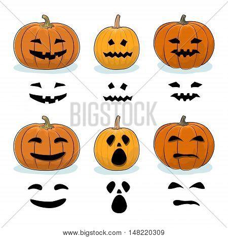 Set of Carved Scary Halloween Pumpkins, a Jack-o-Lantern Pumpkin, Carving Stencil Templates, Vector Illustration