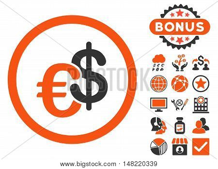 Euro and Dollar Currency icon with bonus symbols. Vector illustration style is flat iconic bicolor symbols, orange and gray colors, white background.