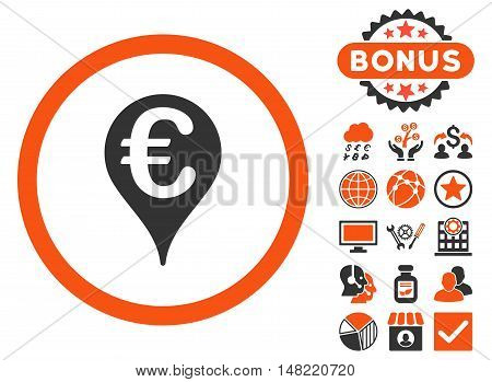 Euro Bank Map Pointer icon with bonus pictogram. Vector illustration style is flat iconic bicolor symbols, orange and gray colors, white background.