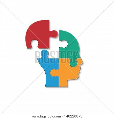 Head of man made of the puzzle. Isolated vector illustration on white background.