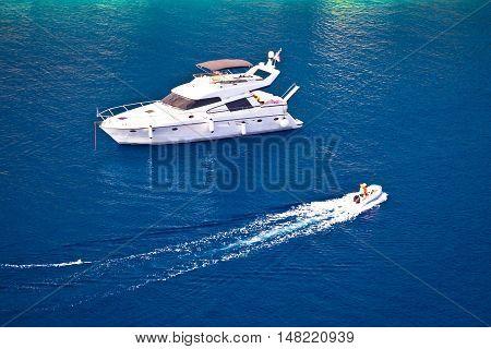 Yachting on blue sea aerial view islands of Dalmatia Croatia
