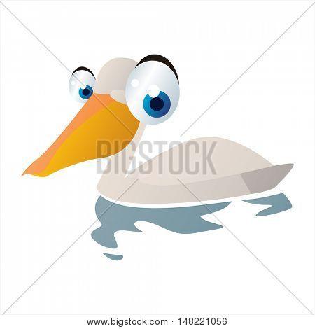 vector funny image of cute bright color animal. Birds. Pelican