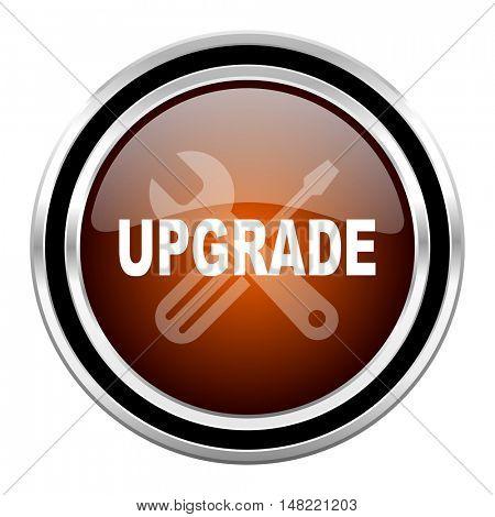 upgrade round circle glossy metallic chrome web icon isolated on white background
