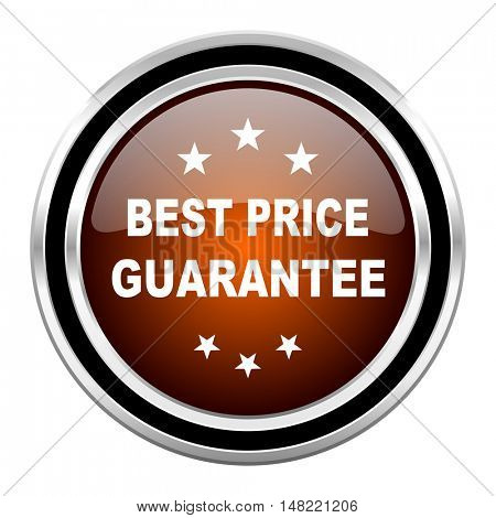 best price guarantee round circle glossy metallic chrome web icon isolated on white background
