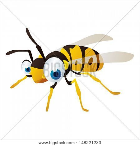 vector cartoon cute animal mascot. Funny colorful cool illustration of happy Insect. Wasp