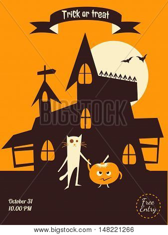 Vector halloween flyer. Dracula castle cat and pumplin illustration for party invitation greeting card web design