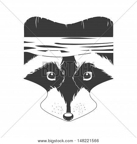 Vector cartoon raccoon head. Forest Fighter. Black and white icon
