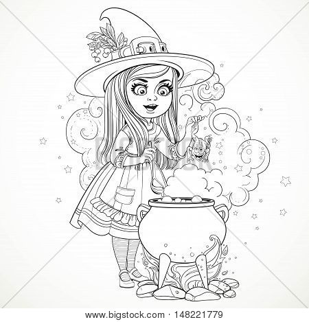 Cute Little Girl Dressed As A Witch Throwing Frog In The Cauldro