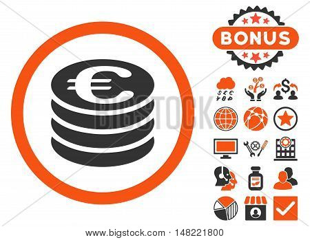 Euro Coin Column icon with bonus design elements. Vector illustration style is flat iconic bicolor symbols, orange and gray colors, white background.