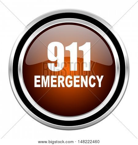number emergency 911 round circle glossy metallic chrome web icon isolated on white background