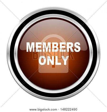 members only round circle glossy metallic chrome web icon isolated on white background