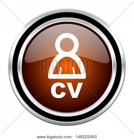 cv round circle glossy metallic chrome web icon isolated on white background