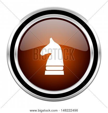chess horse round circle glossy metallic chrome web icon isolated on white background