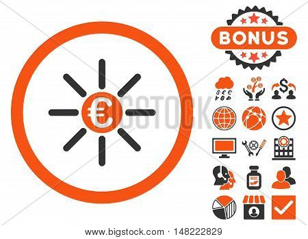 Euro Distribution icon with bonus elements. Vector illustration style is flat iconic bicolor symbols, orange and gray colors, white background.