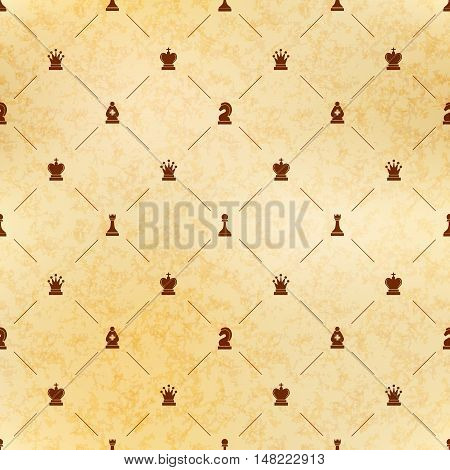 Brown chess icons on old paper with texture royal luxury seamless pattern