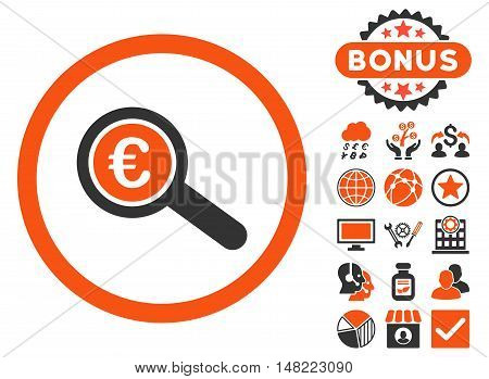 Euro Financial Audit icon with bonus pictures. Vector illustration style is flat iconic bicolor symbols, orange and gray colors, white background.